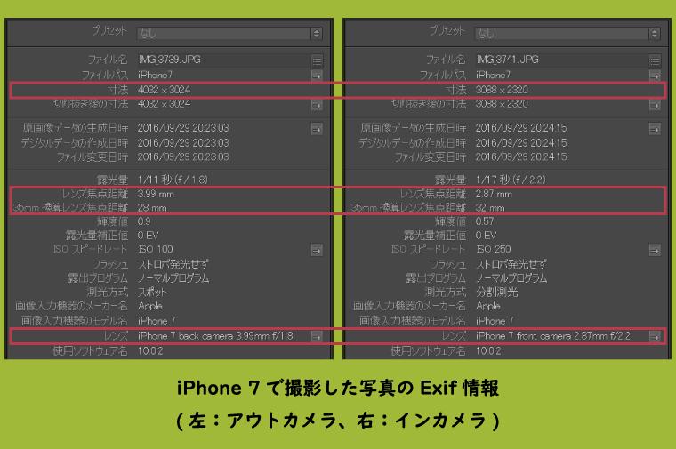 iPhone 7のExif情報(左:アウトカメラ、右:インカメラ)